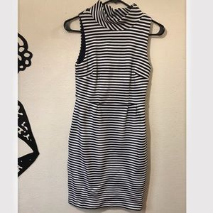 Boden Striped Navy and White Dress Mock Neck
